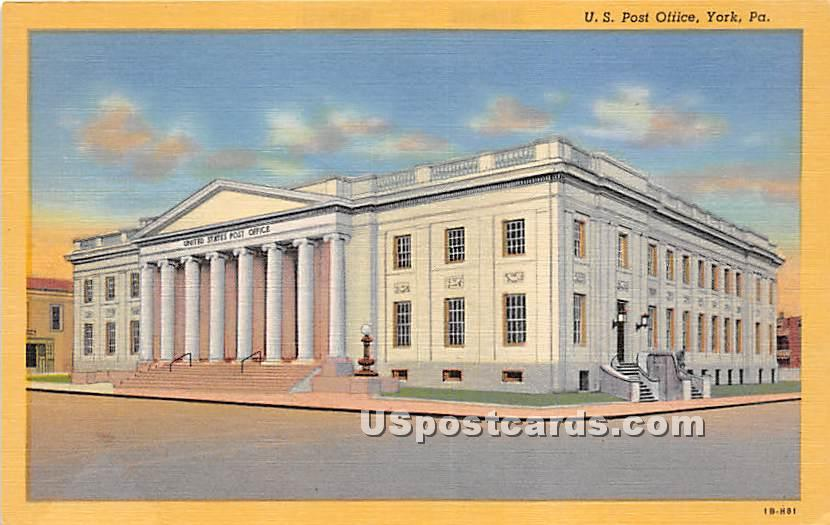 US Post Office - York, Pennsylvania PA Postcard