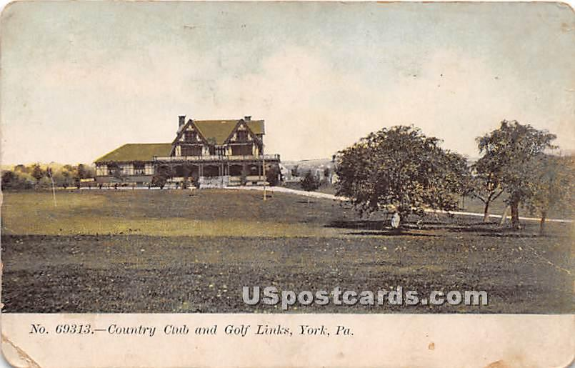 Country Club & Golf Links - York, Pennsylvania PA Postcard