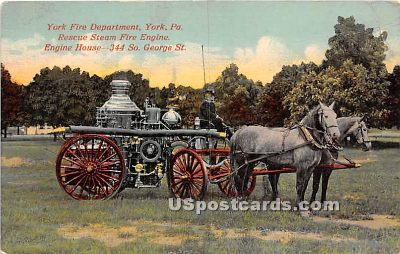 York Fire Department - Pennsylvania PA Postcard