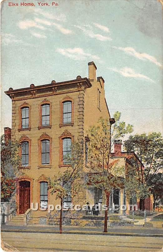 Elks Home - York, Pennsylvania PA Postcard