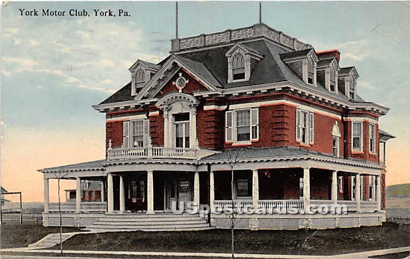 York Motor Club - Pennsylvania PA Postcard