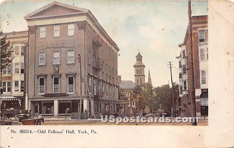 Odd Fellows' Hall - York, Pennsylvania PA Postcard