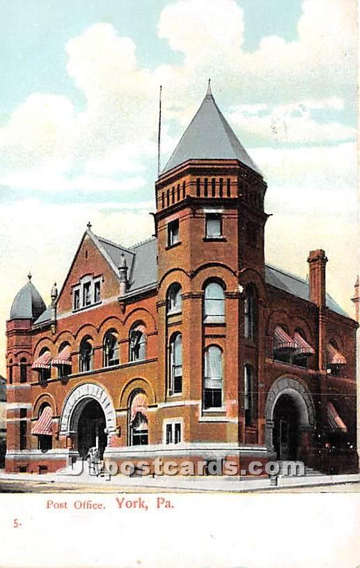 Post Office - York, Pennsylvania PA Postcard