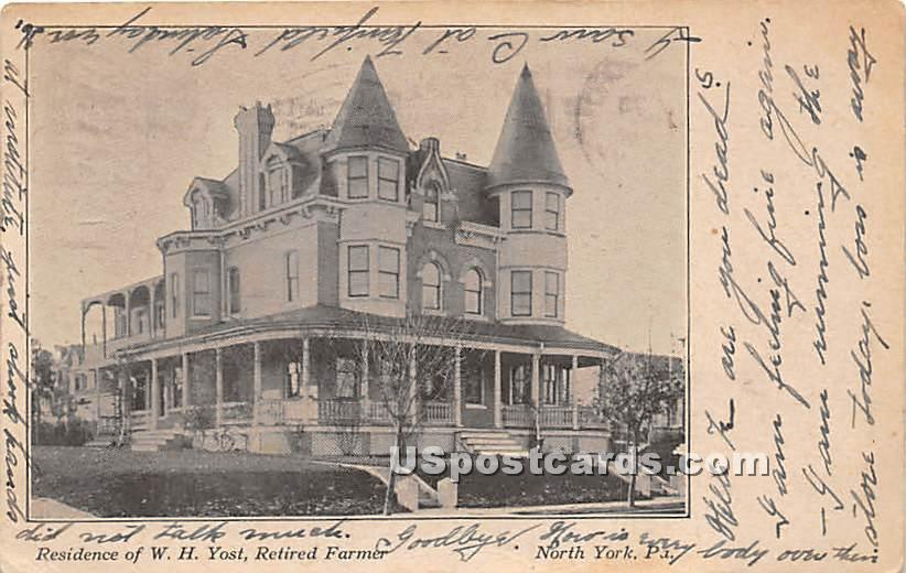 Residence of WH Yost, Retired Farmer - York, Pennsylvania PA Postcard