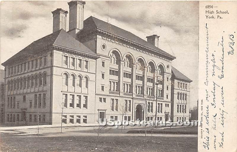 High School - York, Pennsylvania PA Postcard