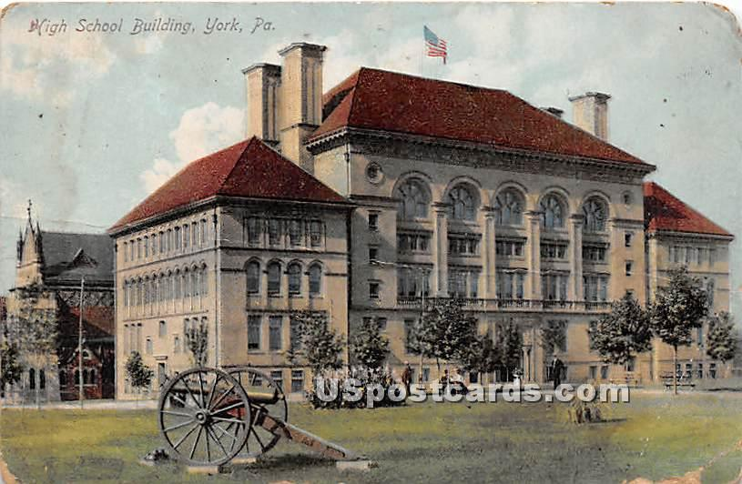 High School Building - York, Pennsylvania PA Postcard