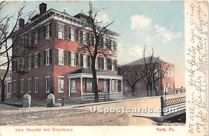 York Hospital & Dispensary - Pennsylvania PA Postcard