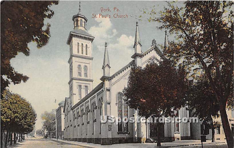 St Paul's Church - York, Pennsylvania PA Postcard