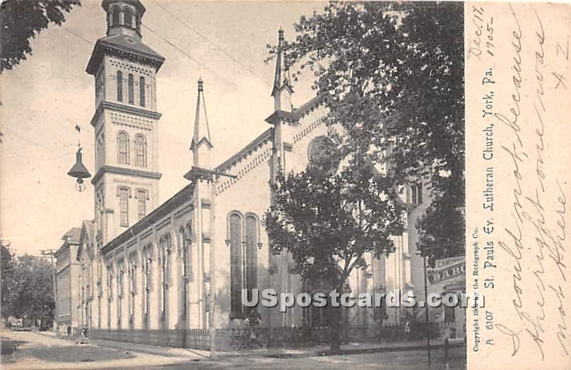 St Paul's Ev Lutheran Church - York, Pennsylvania PA Postcard
