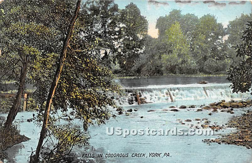 Falls in Codorous Creek - York, Pennsylvania PA Postcard