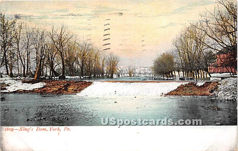 King's Dam - York, Pennsylvania PA Postcard