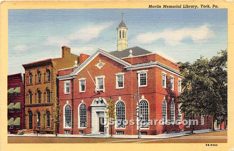 Martin Memorial Library - York, Pennsylvania PA Postcard