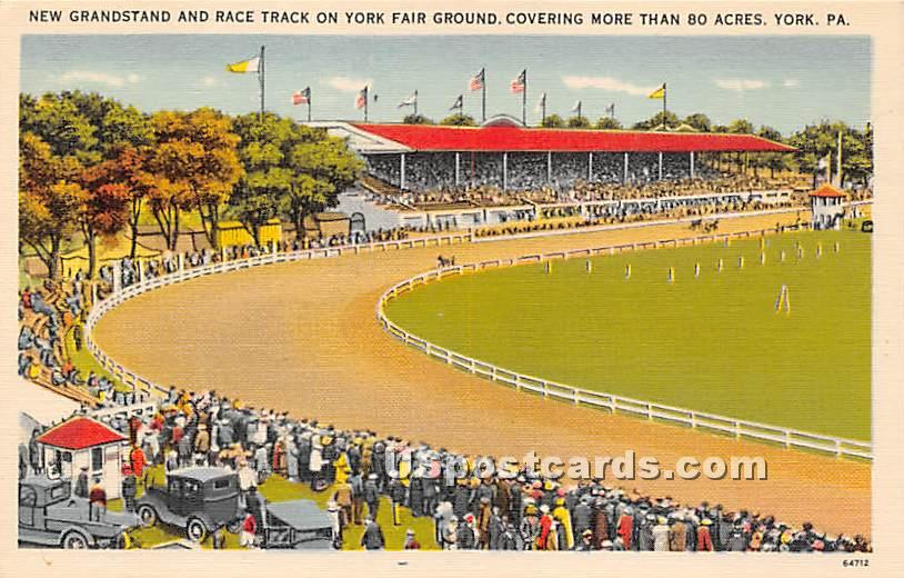 New Grandstand & Race Track - York, Pennsylvania PA Postcard