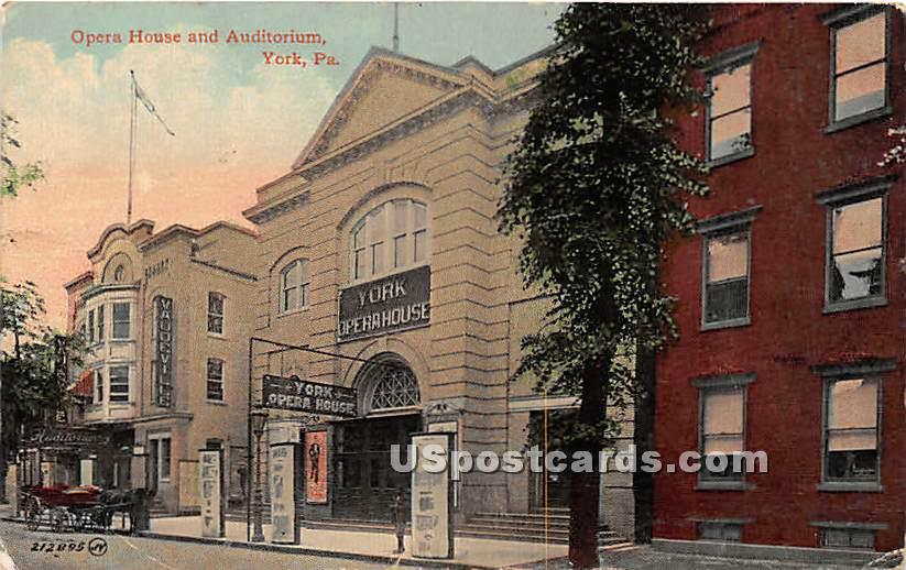 Opera House & Auditorium - York, Pennsylvania PA Postcard