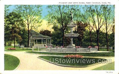 Fountain & Band Stand - York, Pennsylvania PA Postcard