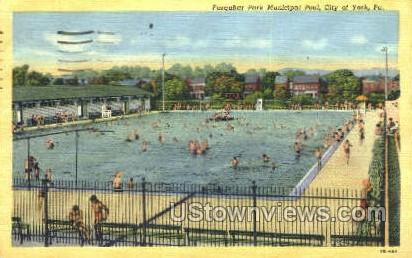 Farquhar Park Municipal Pool - York, Pennsylvania PA Postcard