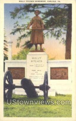 Molly Pitcher Monument - Carlisle, Pennsylvania PA Postcard