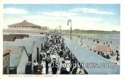 Boardwalk, Newport Beach - Rhode Island RI Postcard