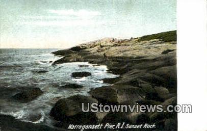 Sunset Rock - Narragansett Pier, Rhode Island RI Postcard