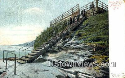 Forty Steps - Newport, Rhode Island RI Postcard