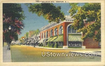 Bellevue Ave - Newport, Rhode Island RI Postcard