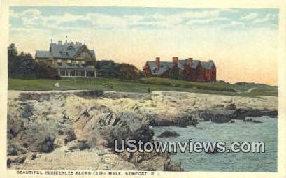 Residences, Cliff Walk - Newport, Rhode Island RI Postcard