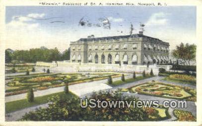 Miramir, Residence of Dr. A. Hamilton Rice - Newport, Rhode Island RI Postcard