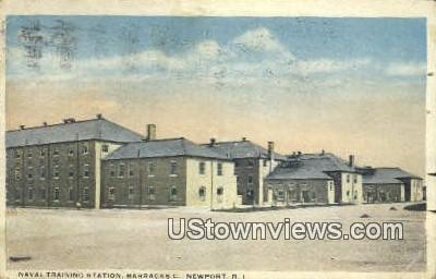 Naval Training Station, Barracks C - Newport, Rhode Island RI Postcard