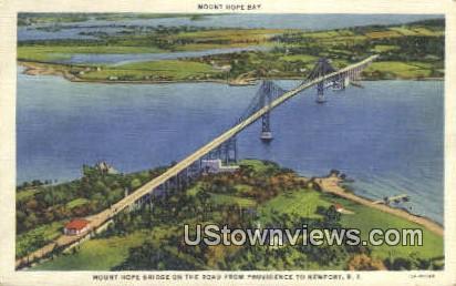 Mount Hope Bridge - Newport, Rhode Island RI Postcard