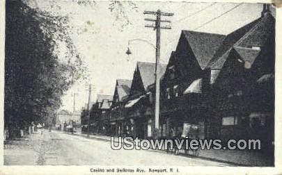 Casino & Bellevue Ave. - Newport, Rhode Island RI Postcard