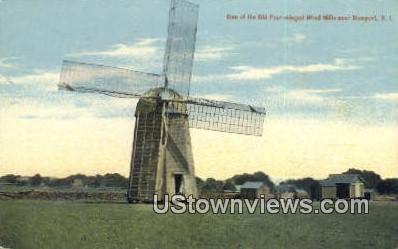 Old Four Winged Wind Mills - Newport, Rhode Island RI Postcard