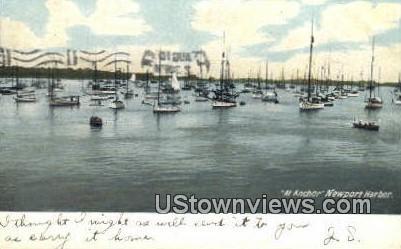 At Anchor - Newport Harbor, Rhode Island RI Postcard