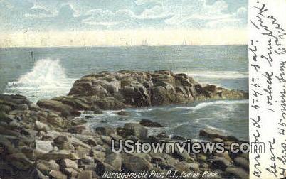 Indian Rock - Narragansett Pier, Rhode Island RI Postcard