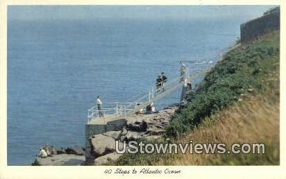 40 Steps, Atlantic Ocean - Newport, Rhode Island RI Postcard