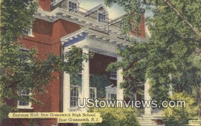 Eastman Hall, East Greenwich High School - Rhode Island RI Postcard