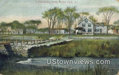 Suburban Home - River View, Rhode Island RI Postcard