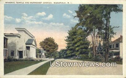 Masonic Temple & Methodist Church - Wakefield, Rhode Island RI Postcard
