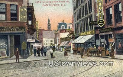 Broad Street - Pawtucket, Rhode Island RI Postcard