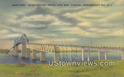 Saunderstown Bridge - Narragansett Bay, Rhode Island RI Postcard