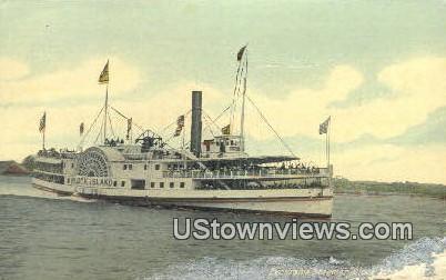 Excursion Steamer - Block Island, Rhode Island RI Postcard