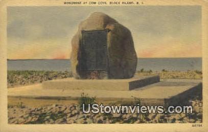 Monument, Cow Cove - Block Island, Rhode Island RI Postcard