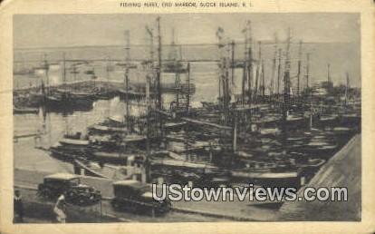 Fishing Fleet, Old Harbor - Block Island, Rhode Island RI Postcard
