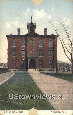 Elm Street School - Westerly, Rhode Island RI Postcard
