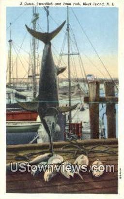 Swordfish & Tuna Fish - Block Island, Rhode Island RI Postcard