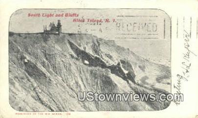 South Light & Bluffs - Block Island, Rhode Island RI Postcard