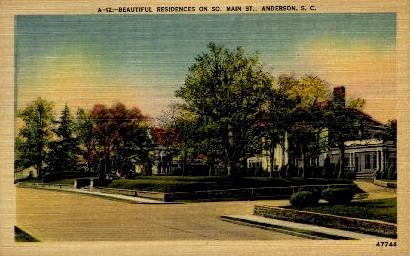 Residences on Main St. - Anderson, South Carolina SC Postcard