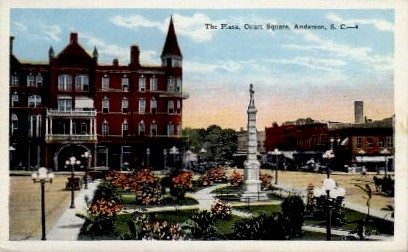 The Plaza, Court Square - Anderson, South Carolina SC Postcard