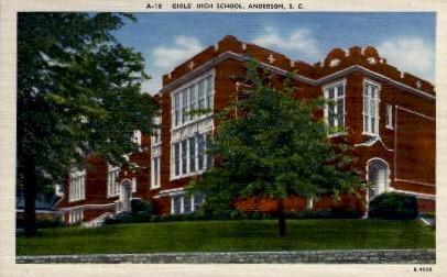 Girls' High School - Anderson, South Carolina SC Postcard
