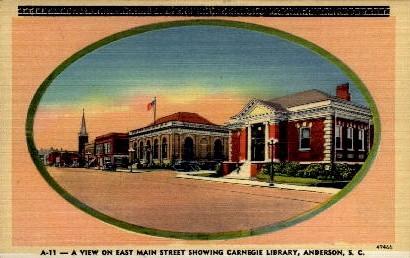 Carnegie Library - Anderson, South Carolina SC Postcard