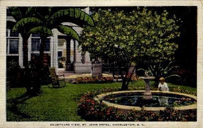 Courtyard View, St. John Hotel - Charleston, South Carolina SC Postcard